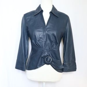 Lafayette 148 Tie Front Top Blue Buttery Leather 2